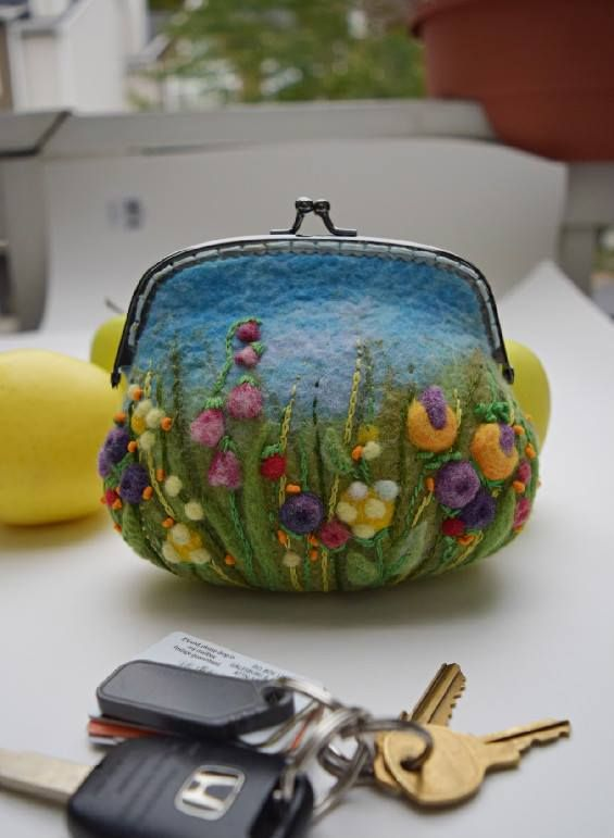felted floral coin purse