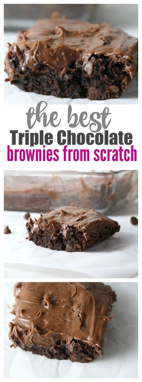 Triple Chocolate Brownies from Scratch - This is the easiest recipe I've ever seen for scratch for brownies!