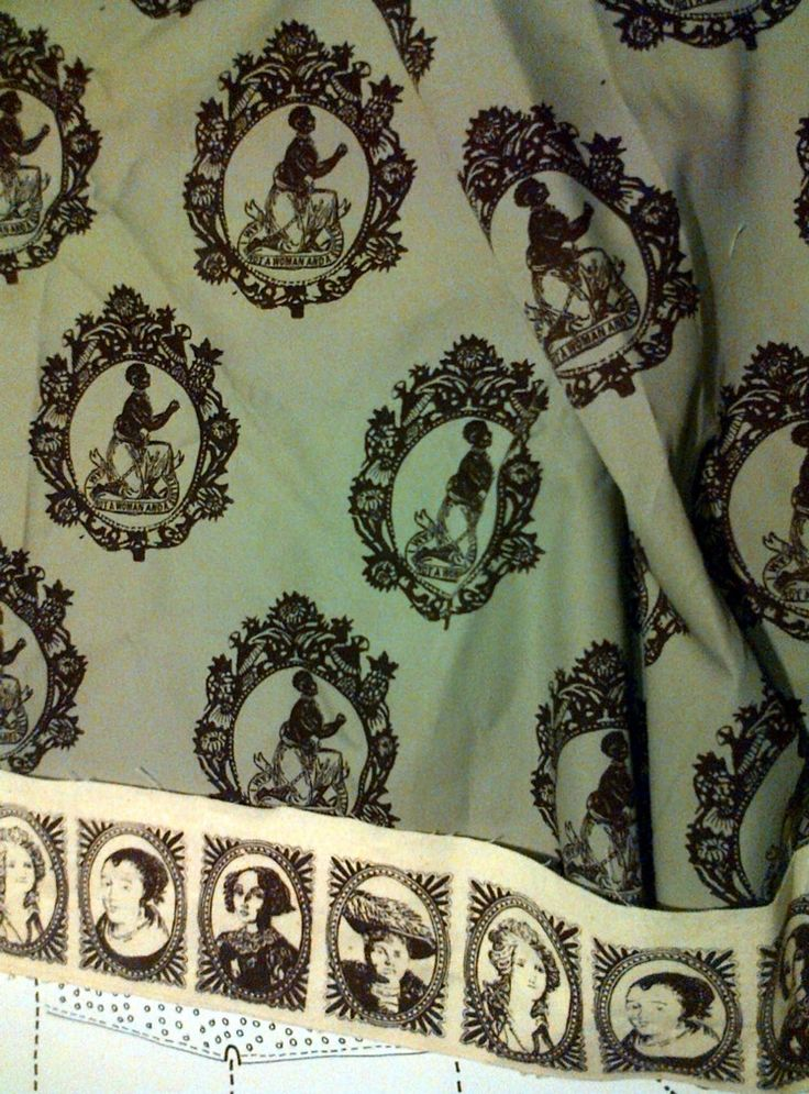 """Fabric design for dolls dress """"women are not born to be slaves"""""""