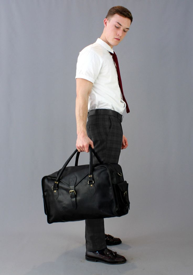 The Vagabond Medium: vintage style black cow leather holdall duffle bag large cabin flight luggage unisex mens personalized custom by VintageChildShop on Etsy https://www.etsy.com/listing/271173635/the-vagabond-medium-vintage-style-black
