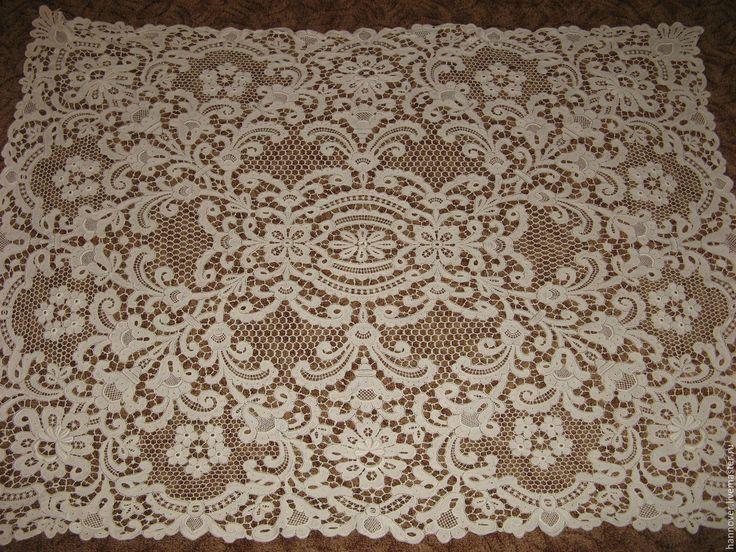 Купить Раритет. Старинная кружевная скатерть - Плауэнское кружево, 125см х 17 - белый, скатерть