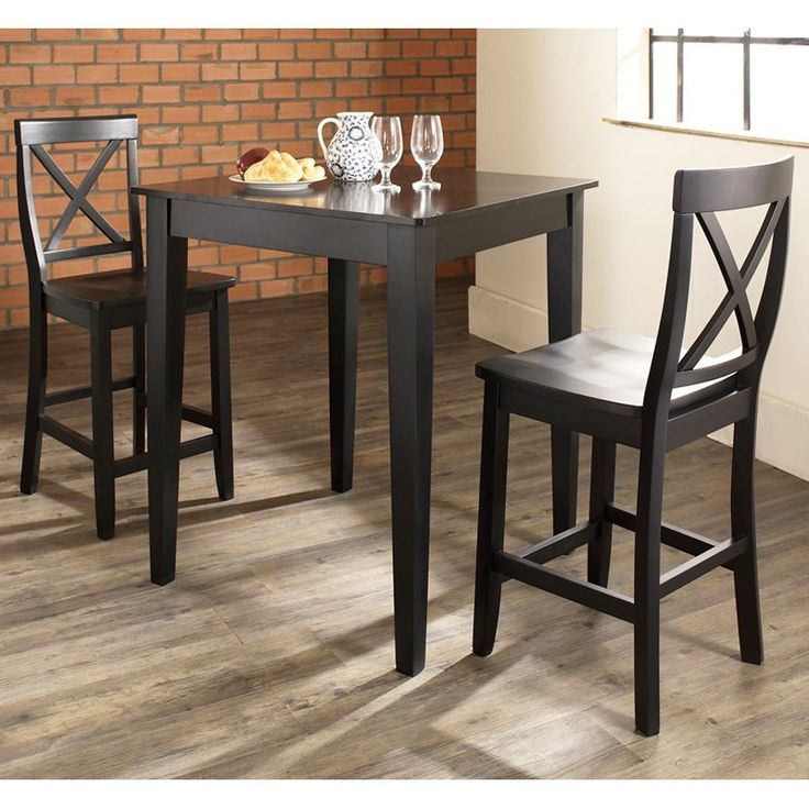 Crosley 3-Piece Pub Dining Set with Tapered Leg and X-Back Stools - KD320005BK