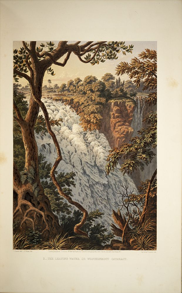 In 1862 British artist and explorer Thomas Baines visited the Falls and created lushly rendered paintings of the site. These works were exhibited, published as chromolithographs, and made into lantern slides.,  Image number:SIL28-274-02