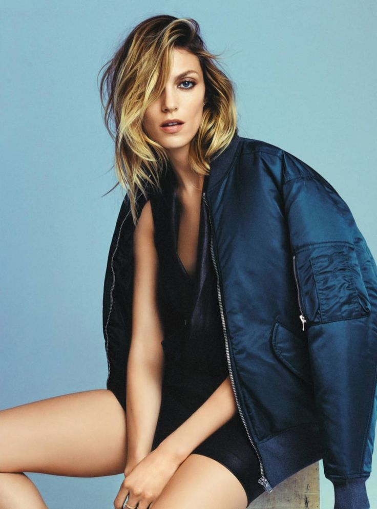 The top model poses in casual fashions for the editorial