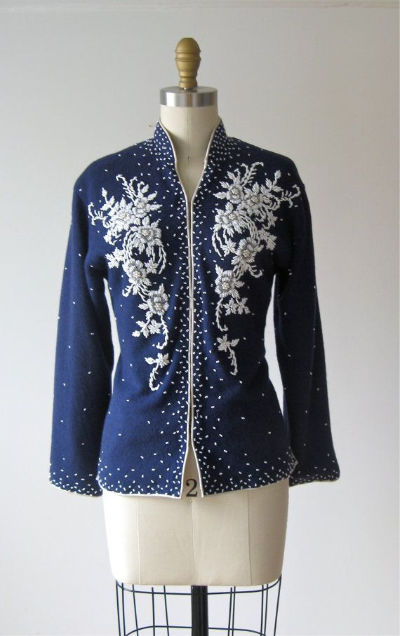 vintage beaded sweater / blue bead cardigan by Dronning on Etsy