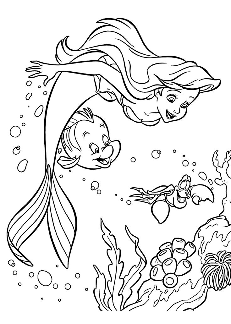 Sebastian and Ariel coloring pages for girls printable