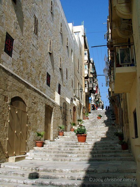 Medieval staircase in Valletta, Malta