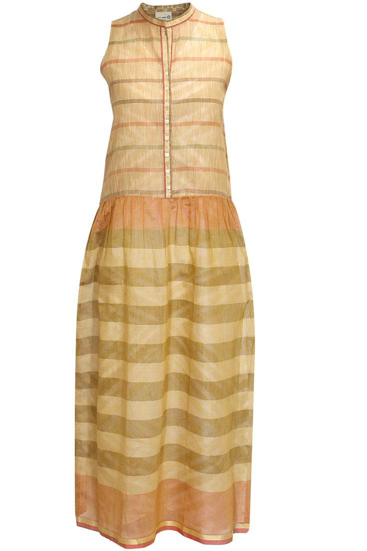 Beige and green ankle length dress with tie dye slip by Krishna Mehta. Shop now: http://www.perniaspopupshop.com/designers/krishna-mehta #dress #krishnamehta #shopnow #perniaspopupshop