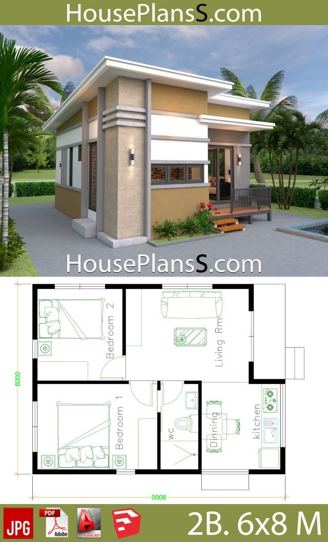 Small House Design Plans 6x8 With 2 Bedrooms House Plans 3d Small House Design Small House Design Plans House Plans
