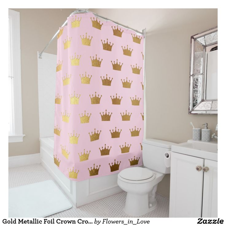 Gold Metallic Foil Crown Crowns Pink Royal Modern Shower Curtain