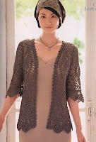 Free Crochet Pattern Short Sleeve Sweater : Short Sleeve Cardigan free crochet graph pattern Crochet ...