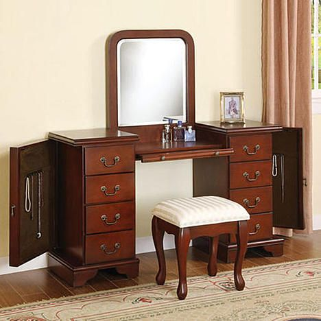 Acme Furniture Acme Furniture Louis Philipe Wood 3pc. Bedroom Vanity Set with Mirror - Cherry