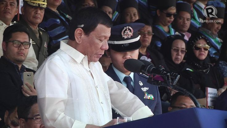 "FULL SPEECH: Duterte at the PMA class of 2017 graduation ceremony - WATCH VIDEO HERE -> http://dutertenewstoday.com/full-speech-duterte-at-the-pma-class-of-2017-graduation-ceremony/   ""Just be true to your oath of office. Never propagate and nurture loyalty to a government employee or soldier. We are on the same boat. It's always to the flag and the Constitution."" This was President Rodrigo Duterte's message to the Class of 2017 of the Philippine Military"