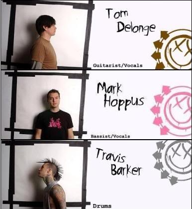 Blink 182 members. :D Travis is awesome!!!!