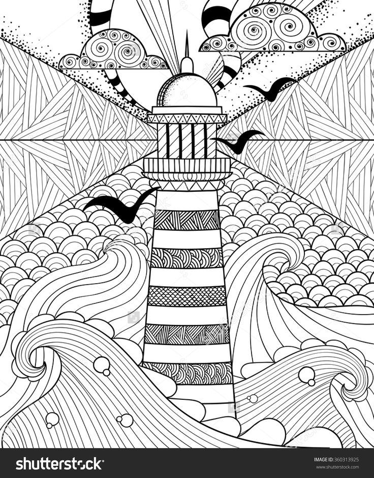Hand drawn artistically ethnic ornamental patterned Lighthouse with clouds in doodle, zentangle tribal style for adult coloring book, pages, tattoo, t-shirt or prints. Sea vector illustration.