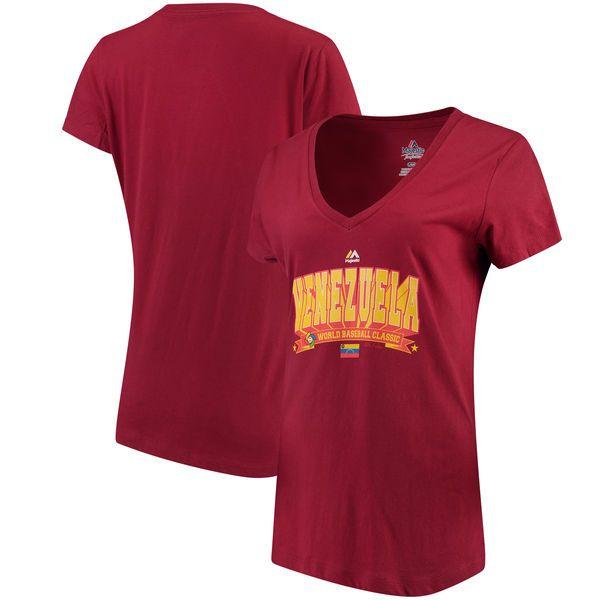 Venezuela Baseball Majestic Women's 2017 World Baseball Classic World Wide Leader V-Neck T-Shirt - Garnet - $15.99