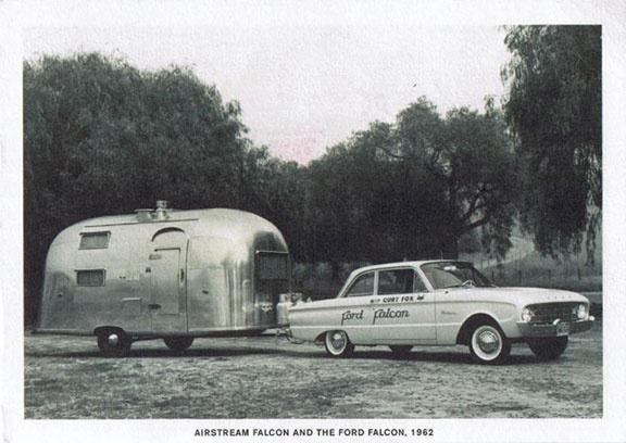 Airstream Falcon Trailer And Ford Falcon Car 1962 Modern Postcard