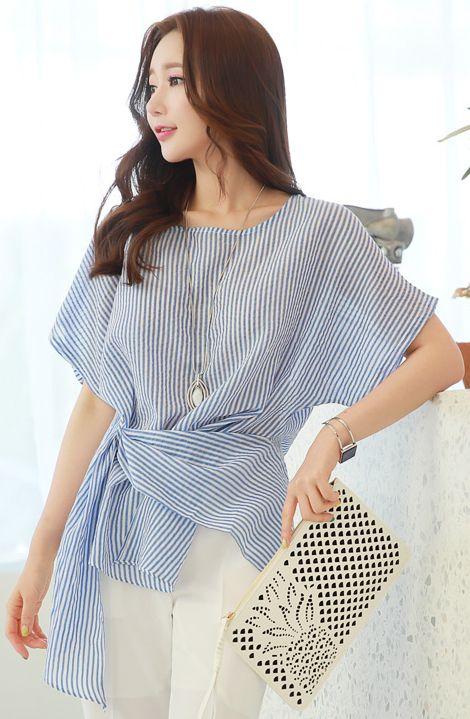 StyleOnme_Asymmetrical Pinstripe Waist Tie Blouse #pinstripe #blue #summer #feminine #elegant #koreanfashion #kstyle #dailylook