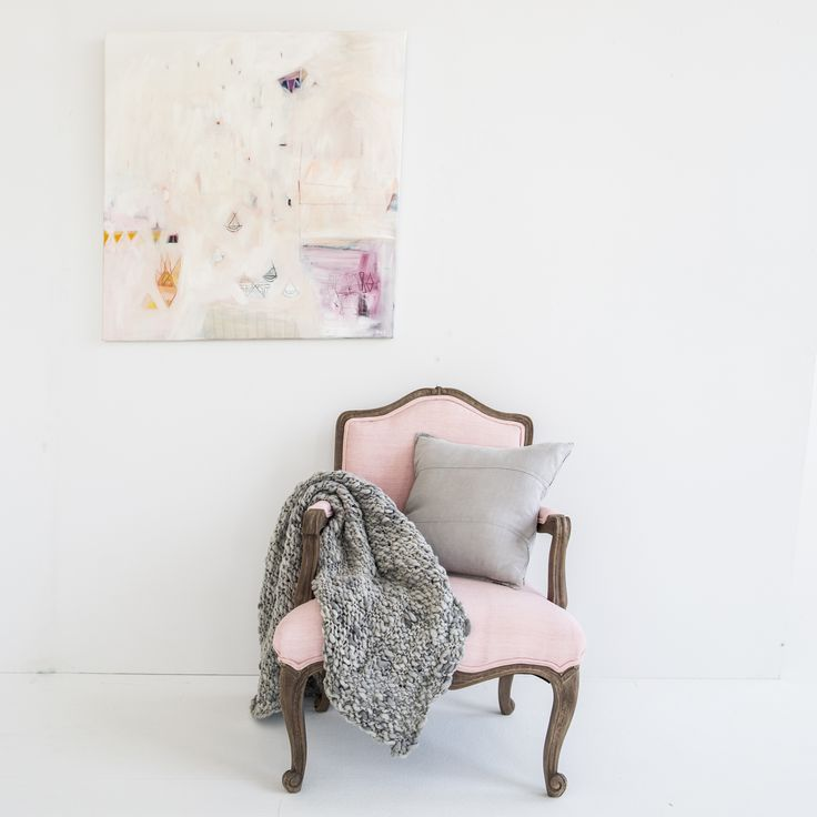 Classic Pink Chair & Abstract Art