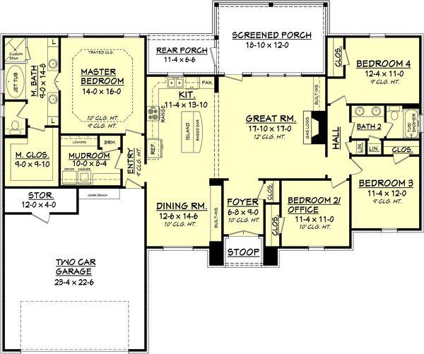 European Style House Plan - 4 Beds 2 Baths 2000 Sq/Ft Plan #430-74 Floor Plan - Main Floor Plan - Houseplans.com