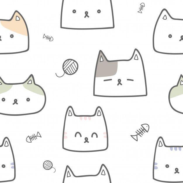 Cute Cat Face Cartoon Doodle Pastel Seamless Pattern Cute Cat