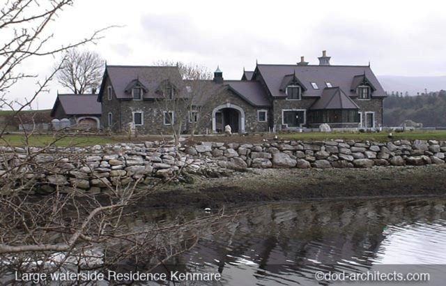 Courtyard style large residence with outbuilding in U shape along the shore of Kenmare Bay Ireland. House design: dod architects