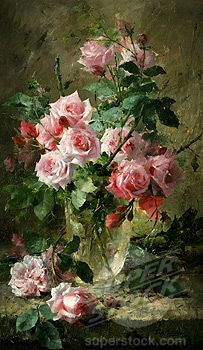 painting of pink roses in a vase | STILL LIFE OF PINK ROSES IN A GLASS VASE Frans Mortelmans (1865-1936 ...