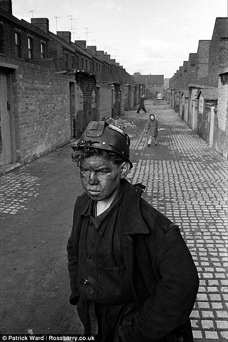 A teenager miner in Horden heads home after finishing his shift.