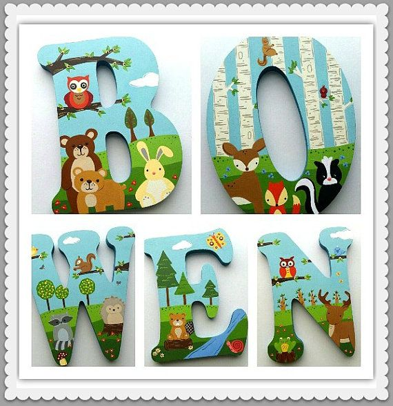 Wooden Letters Nursery Letters Playroom Letters by PoshDots
