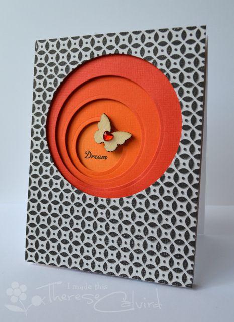 handmade card ... asymmetric layered circles ... tiny black and white print paper ... luv it!