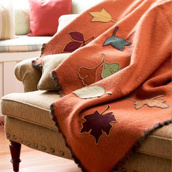 Use Leaf Applique Blanket for Seasonal Throw
