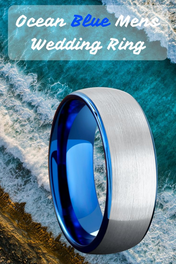Mens Ocean Blue Brushed Tungsten Wedding Band Titanium Wedding