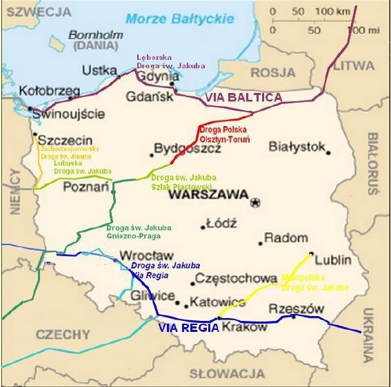 Pologne : chemins de St Jacques Polska : Droga sw. Jakuba