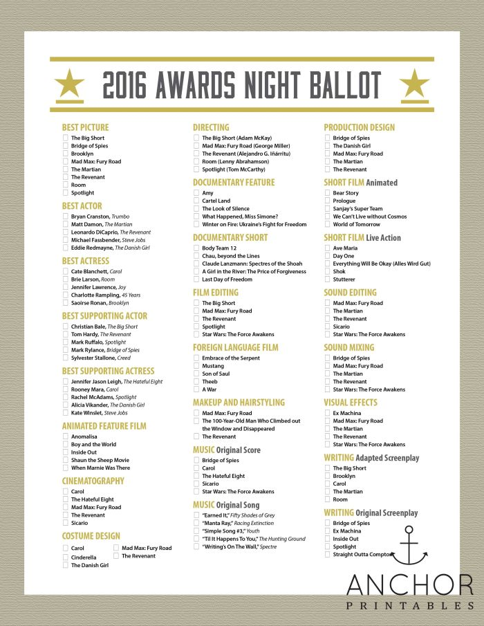 OSCARS 2016 Ballot. Person with the most correct predictions wins a prize!