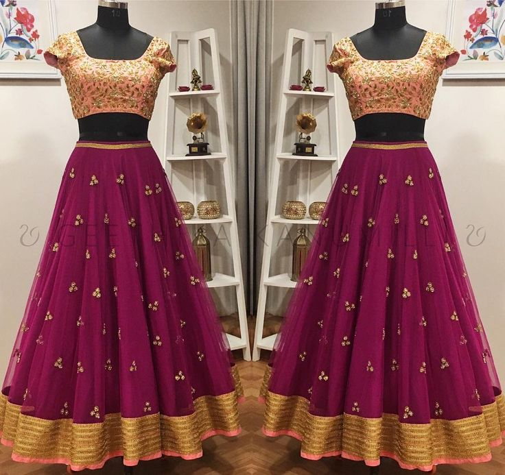 Beautiful wine color designer lehenga and blush pink color designer blouse with hand embroidery zardosi work from Geethika Kanumilli. 10 December 2017