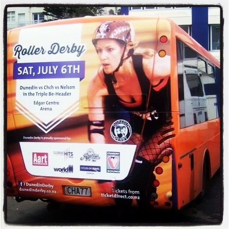 The Triple Be-Header is July 6th, 2013 in Dunedin. Roller Derby Girl on a bus!!!