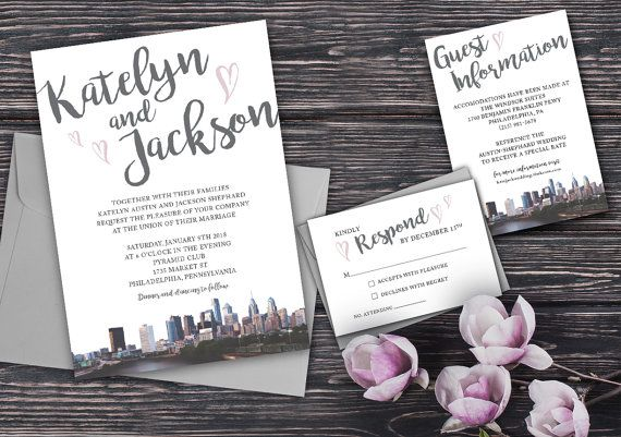 Wedding Invitations Philadelphia Skyline with hearts  Philly