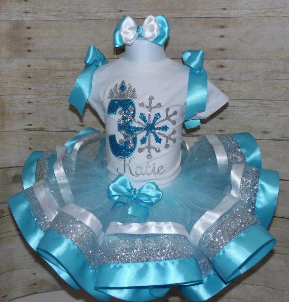 Josefina Birthday Dress: Princess Snowflake Ribbon Trim Tutu Set. Snowflake
