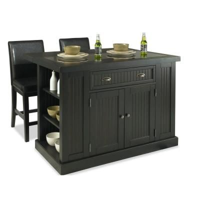 Home Styles Nantucket Kitchen Island in Distressed Black with Black Granite Inlay and Two Stools-5033-949 at The Home Depot