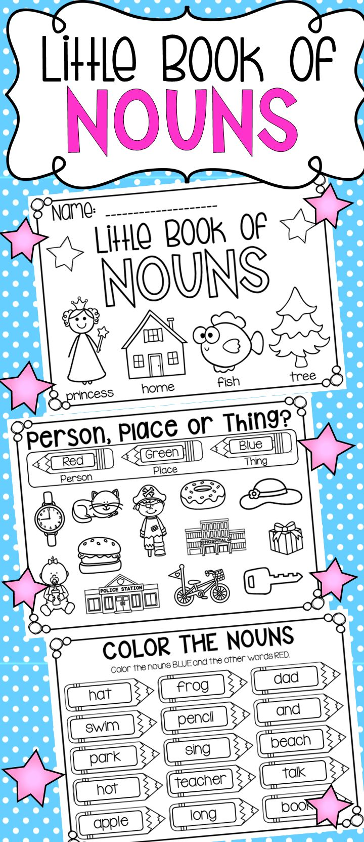 Little Book of Nouns to accompany my nouns unit. It is a half-page a5 booklet which is 17 pages long. I have used it in SO many ways – It was used during literacy rotations, as a fast finisher activity and during whole-class lessons. It was great and really helped to reinforce what we were learning about nouns. I am in the process of creating a verb one too!