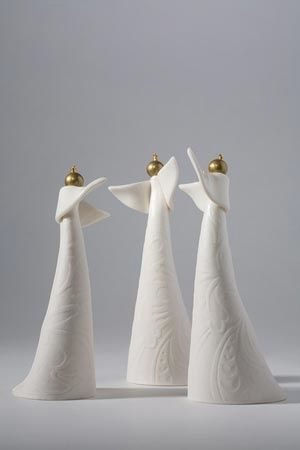 Set of 3 white angels
