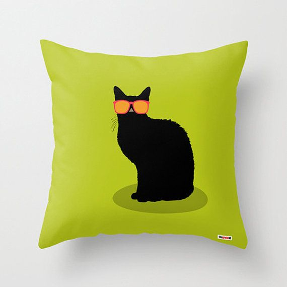 Cool cat throw pillow cover  Cushion cover  Modern by thegretest, €39.92