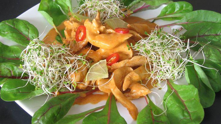 Marinert kylling med krydder fra Thailand, eller thaikrydret kylling. Ingefær, hvitløk og chili er grunnkrydderet. La gjerne kjøttet ligge i marinaden i flere dager.