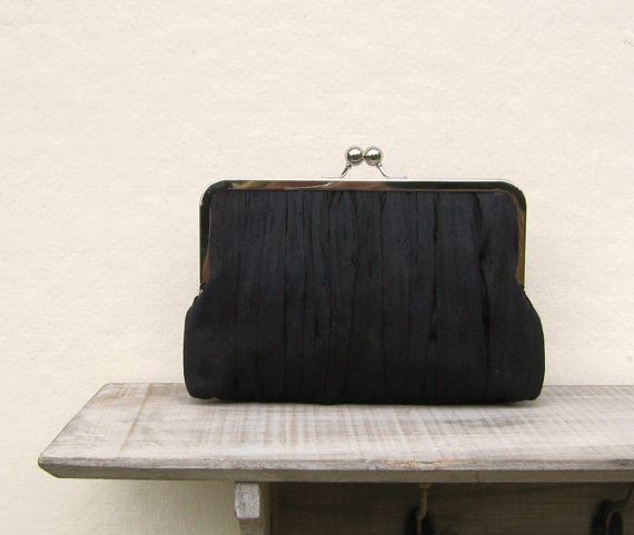 Black clutch black bridal clutch  black by ConstanceHandcrafted