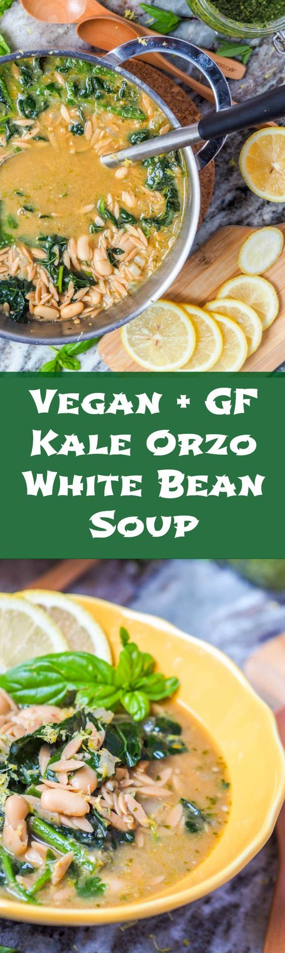 This eight ingredient vegan orzo soup with kale, white bean and pesto comes together in 30 minutes and is hearty enough for a full meal. Perfect for cooler fall nights. Gluten Free.  #soup #vegan #healthy via @acoupletravelers