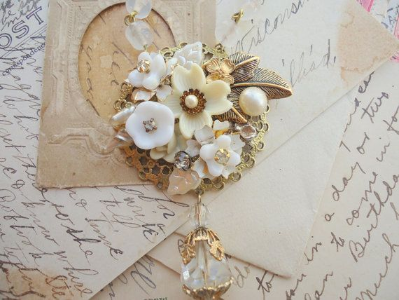 Free Shipping and Free Gift : ) Glass Garden. bridal, white, creamy, collage, dogwood, necklace. assemblage jewelry by SacredCake on Etsy