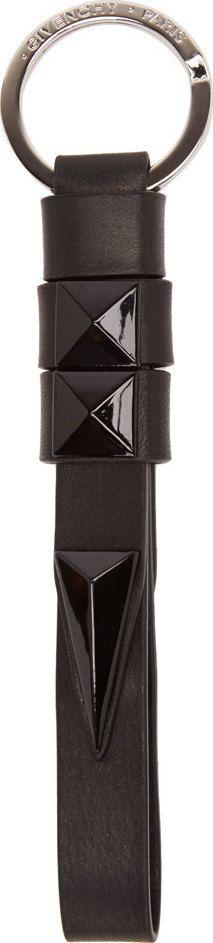 Givenchy - Black Leather Studded Keychain