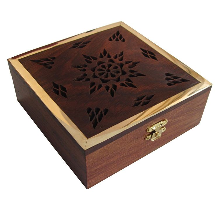 Handmade Wood Jewelry Boxes Brass Inlay Work: Amazon.co.uk: Kitchen & Home