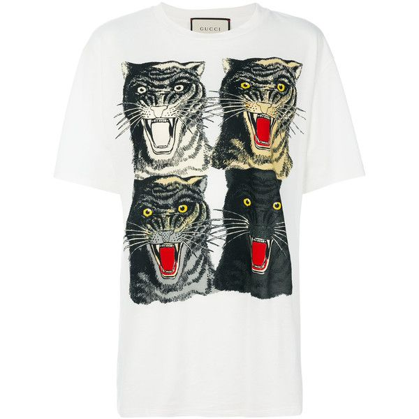 Gucci Tiger Face T-shirt ($590) ❤ liked on Polyvore featuring tops, t-shirts, white, oversized white t shirt, 80s t shirts, animal print tops, oversized t shirt and screen print t shirts