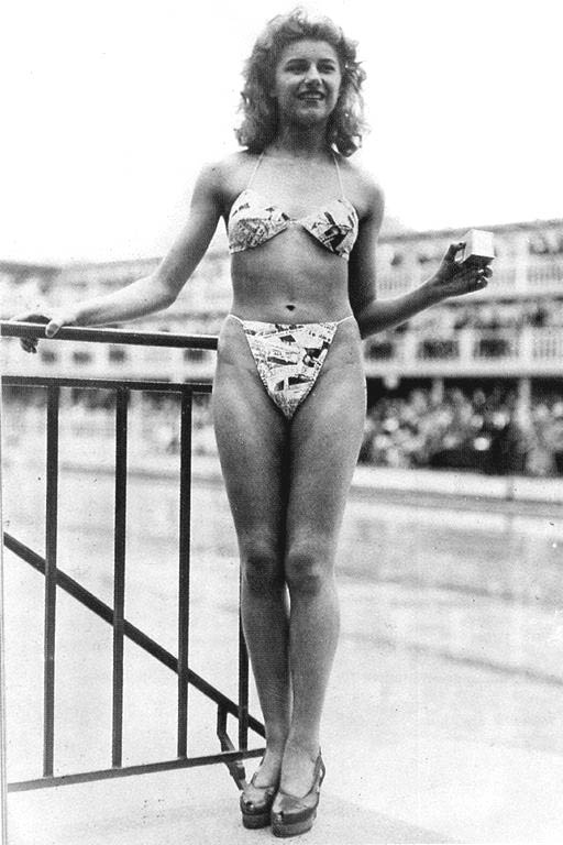 1946. Bikini's original and 1st exhibition. Micheline Bernardini was an exotic nude dancer at Casino de Paris. She was the only one who agreed and accepted to wear the 1st bikini swimsuit in public, on the 5th of July 1946...